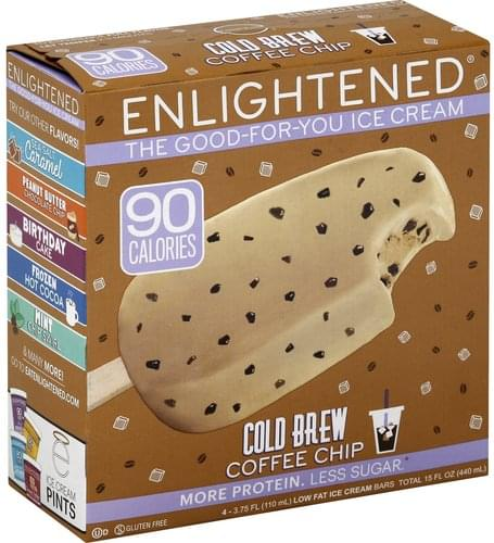 Enlightened Cold Brew Coffee Chip, Low Fat Ice Cream Bar - 4 ea