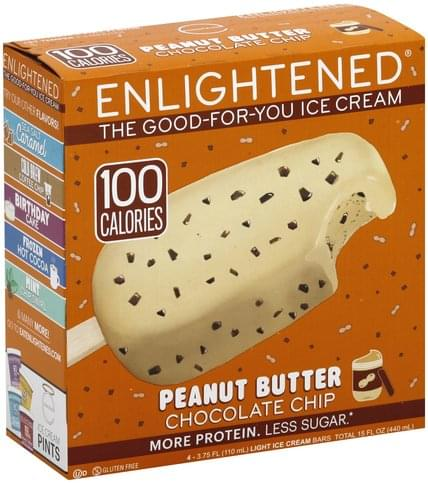 Enlightened Light, Peanut Butter Chocolate Chip Ice Cream Bars - 4 ea