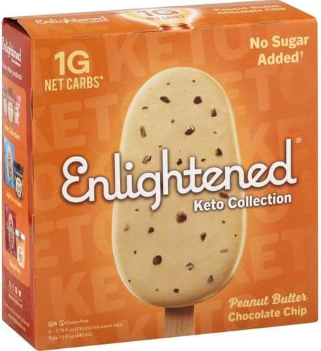 Enlightened Gluten Free, Peanut Butter, Chocolate Chip Ice Cream Bars - 4 ea