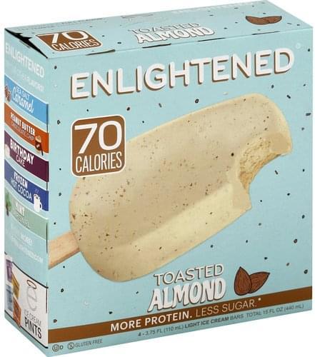 Enlightened Toasted Almond, Light Ice Cream Bar - 4 ea