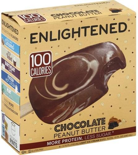 Enlightened Chocolate Peanut Butter, Light Ice Cream Bar - 4 ea