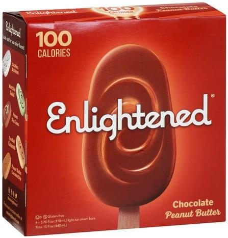 Enlightened Light, Chocolate, Peanut Butter Ice Cream Bars - 4 ea