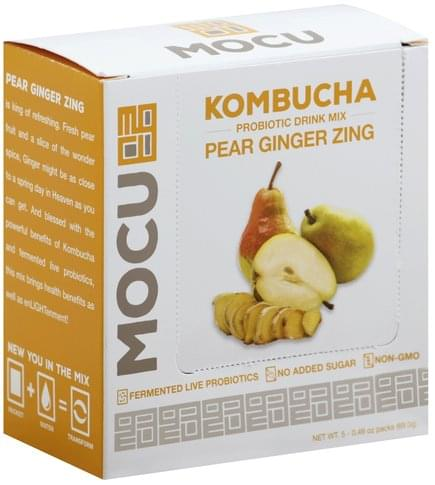 Mocu Kombucha, Pear Ginger Zing Probiotic Drink Mix - 5 ea