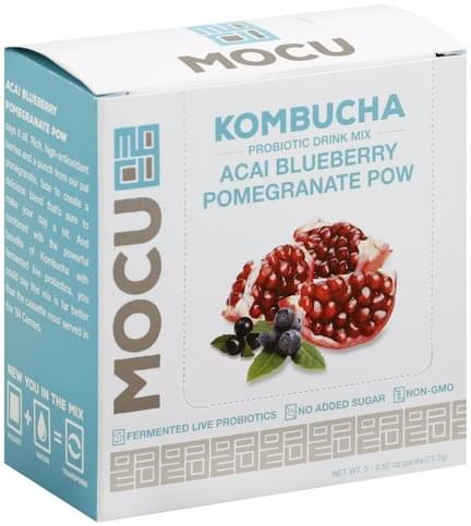 Mocu Kombucha, Acai Blueberry Pomegranate Pow Probiotic Drink Mix - 5 ea