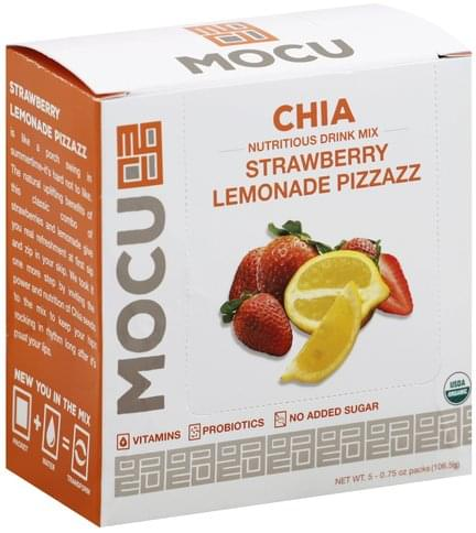 Mocu Chia, Strawberry Lemonade Pizzazz Nutritious Drink Mix - 5 ea