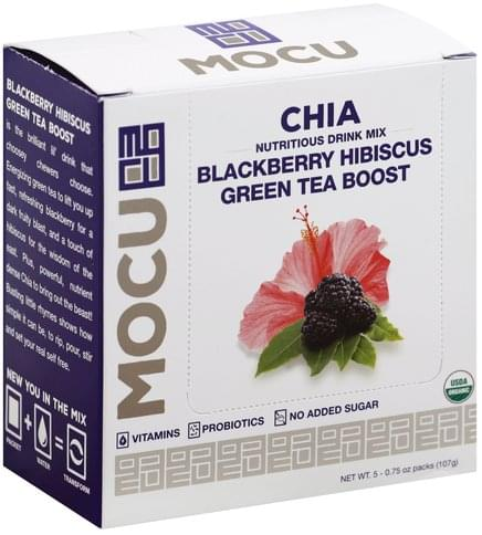Mocu Chia, Blackberry Hibiscus Green Tea Boost Nutritious Drink Mix - 5 ea