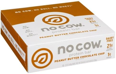 No Cow Peanut Butter Chocolate Chip Protein Bar - 12 ea