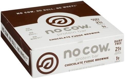 No Cow Chocolate Fudge Brownie Protein Bar - 12 ea