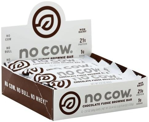 No Cow Chocolate Fudge Brownie Bar - 12 ea