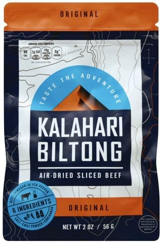 Kalahari Biltong Air-Dried, Original, Sliced Beef - 2 oz