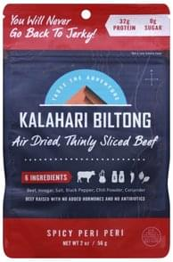Kalahari Biltong Beef Air-Dried, Spicy Peri-Peri, Thinly Sliced