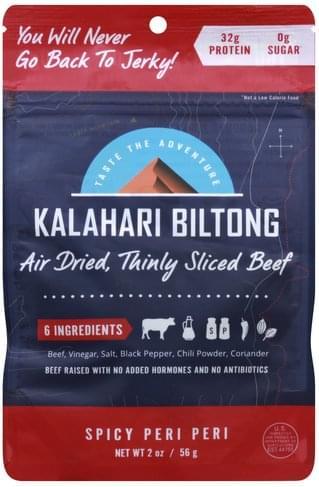 Kalahari Biltong Air-Dried, Spicy Peri-Peri, Thinly Sliced Beef - 2 oz