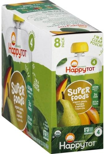 Happy Tot Pears, Mangos & Spinach, 8 Pack Fruit & Veggie Blend - 8 ea
