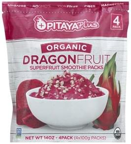 Pitaya Plus Smoothie Pack Organic, Superfruit, Dragonfruit, 4 Pack