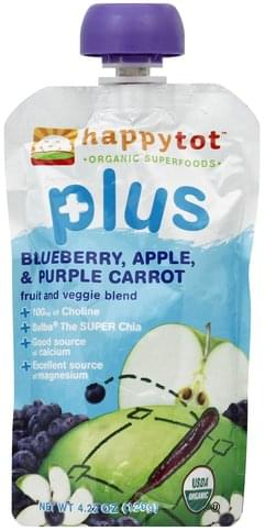 Happy Tot Blueberry, Apple, & Purple Carrot Fruit and Veggie Blend - 4.22 oz