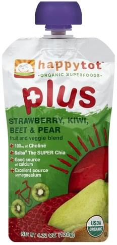 Happy Tot Strawberry, Kiwi, Beet & Pear Fruit and Veggie Blend - 4.22 oz