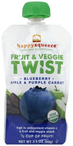 Happy Squeeze Blueberry Apple & Purple Carrot Fruit & Veggie Twist - 3.5 oz