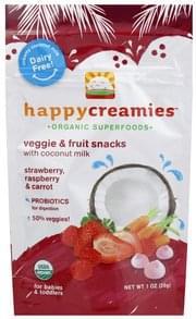 Happy Creamies Veggie & Fruit Snacks Strawberry, Raspberry & Carrot
