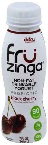 Fruzinga Drinkable, Non-Fat, Probiotic, Black Cherry Yogurt - 7 oz