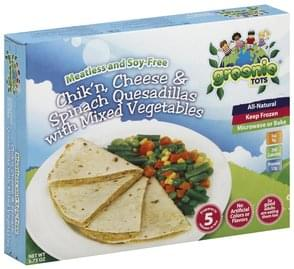 Greenie Tots Chik'n, Cheese & Spinach Quesadillas with Mixed Vegetables