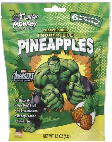 Funky Monkey Incredible Pineapples Freeze-Dried Fruit - 1.5 oz