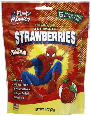 Funky Monkey Freeze Dried, Ultimate, Marvel Ultimate Spider-Man Strawberries - 1 oz