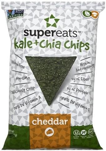 SuperEats Kale + Chia, Cheddar Chips - 5 oz