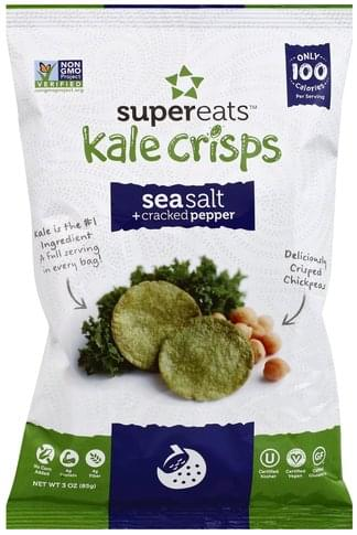 SuperEats Sea Salt + Cracked Pepper Kale Crisps - 3 oz