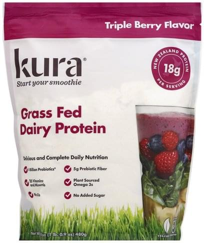 Kura Grass Fed, Triple Berry Flavor Dairy Protein - 16.9 oz