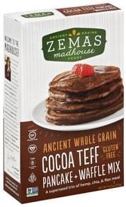 Zemas Pancake + Waffle Mix Gluten Free, Cocoa Teff