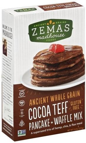 Zemas Gluten Free, Cocoa Teff Pancake + Waffle Mix - 9.63 oz