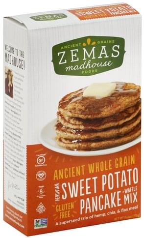 Zemas Gluten Free, Premium Sweet Potato Pancake + Waffle Mix - 9.66 oz