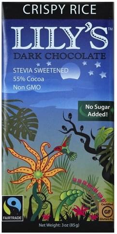 Lilys Crispy Rice, 55% Cocoa Dark Chocolate - 3 oz