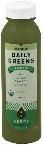 Daily Greens Organic, Purity Vegetable and Fruit Juice - 12 oz