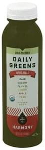 Daily Greens Vegetable and Fruit Juice Organic, Harmony