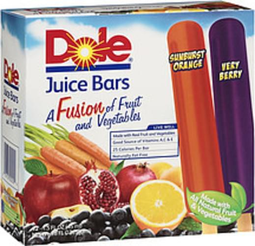 Dole Fusion Sunburst Orange/Very Berry 1.5 Fl Oz Juice Bars - 12