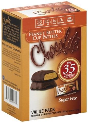 Chocolite Sugar Free, Value Pack Peanut Butter Cup Patties - 6 ea