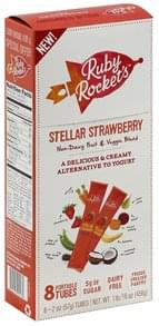 Ruby Rockets Fruit & Veggie Blend Non-Dairy, Stellar Strawberry, Portable Tubes