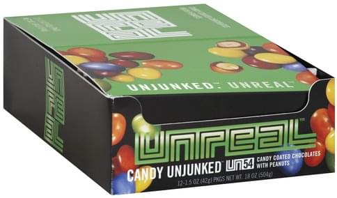Unreal With Peanuts Candy Coated Chocolates - 12 ea