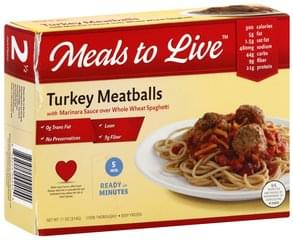 Meals Live Turkey Meatballs with Marinara Sauce over Whole Wheat Spaghetti