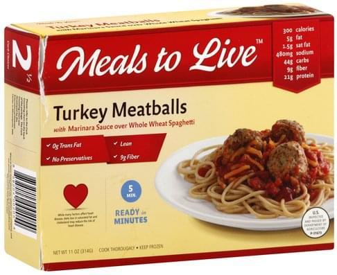 Meals Live with Marinara Sauce over Whole Wheat Spaghetti Turkey Meatballs - 11 oz