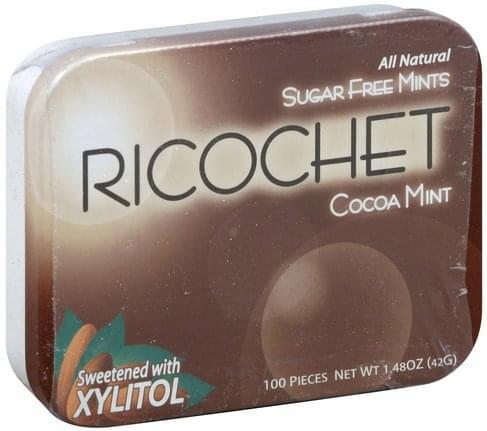 Ricochet Sugar Free, Cocoa Mint Mints - 100 ea