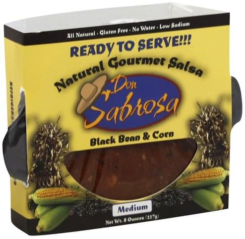 Don Sabrosa Natural Gourmet, Black Bean & Corn, Medium Salsa - 8 oz