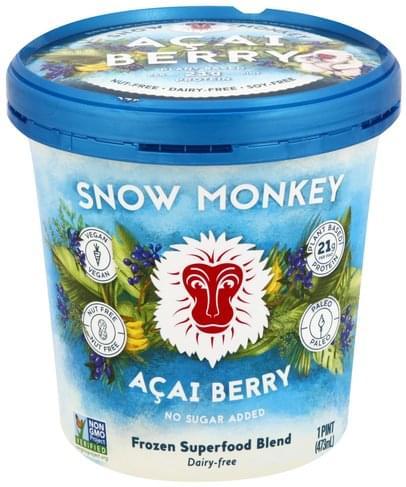 Snow Monkey Acai Berry, Frozen Superfood Blend - 1 pt