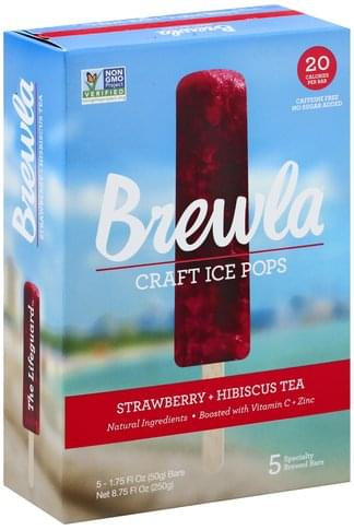Brewla Craft, Strawberry + Hibiscus Tea Ice Pops - 5 ea