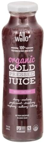 All Wello Organic, No Added Sugar, Berry Delight, Cold Pressed 100% Vegetable & Fruit Juice Blend - 11.1 oz