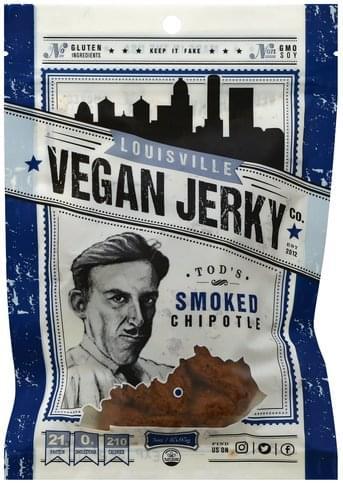 Louisville Vegan Jerky Vegan, Tod's Smoke Chipotle Jerky - 3 oz