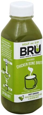 Bru Pastured Chicken, Hot Greens Bone Broth - 16 oz