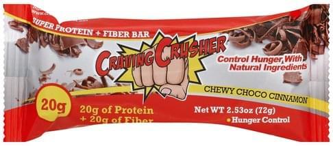Craving Crusher Super, Chewy Choco Cinnamon Protein + Fiber Bar - 2.53 oz