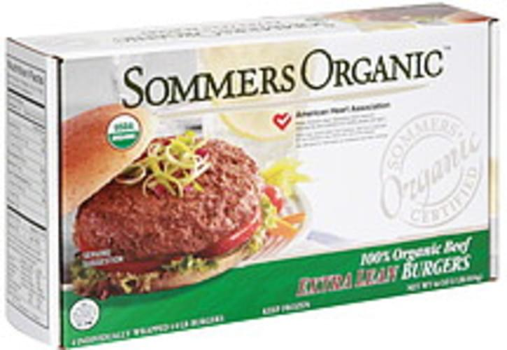 Sommers Organic 100% Organic Beef Extra Lean Burgers - 4 ea